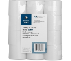 "Business Source 28650 Adding Machine Paper Rolls, 2-1/4""x150', 12/PK, White by Business Source"