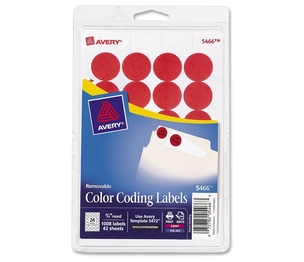 """Avery 05466 Removable Labels, 3/4"""" Round, 1008/PK, Red by Avery"""