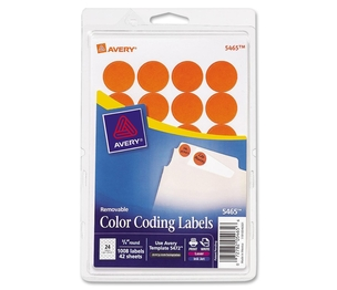 "Avery 05465 Removable Labels, 3/4"" Round, 1008/PK, Orange by Avery"