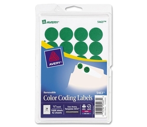"Avery 05463 Removable Labels, 3/4"" Round, 1008/PK, Green by Avery"