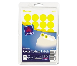 "Avery 05462 Removable Labels, 3/4"" Round, 1008/PK, Yellow by Avery"