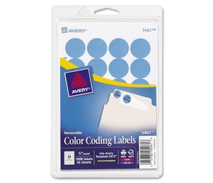 "Avery 05461 Removable Labels, 3/4"" Round, 1008/PK, Light Blue by Avery"