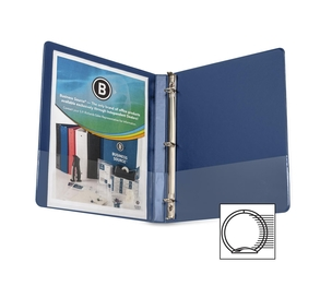"Business Source 28525 Round Ring Binder, w/ Pockets, 1/2"", Dark Blue by Business Source"