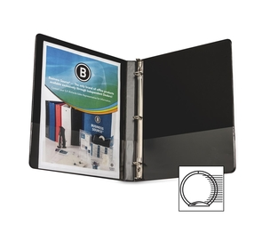 "Business Source 28526 Round Ring Binder, w/ Pockets, 1/2"", Black by Business Source"