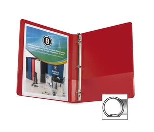 "Business Source 28527 Round Ring Binder, w/ Pockets, 1/2"", Red by Business Source"