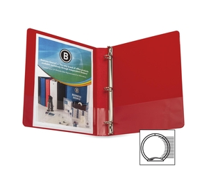 "Business Source 28550 Round Ring Binder, w/ Pockets, 1"", Red by Business Source"