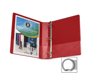 "Business Source 28553 Round Ring Binder, w/ Pockets, 1-1/2"", Red by Business Source"