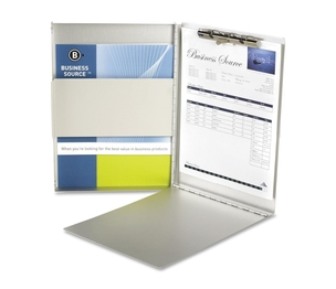 """Business Source 28555 Form Holder,w/ Storage,Side Opening,8-1/2""""x12"""",Aluminum by Business Source"""