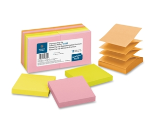 """Business Source 16452 Pop-up Adhesive Note Pads,3""""x3"""",100 Sh,12/PK, AST Neon by Business Source"""