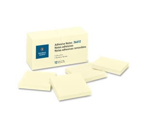 """Business Source 36612 Adhesive Notes, 100 Sheets, 3""""x3"""", 12/PK, Yellow by Business Source"""