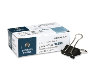 """Business Source 36550 Binder Clip, Small, 3/4""""W, Steel, 3/8"""" Capacity, 1/DZ,Black by Business Source"""