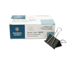 """Business Source 36552 Binder Clip, Large, 2"""", Steel, 1"""" Capacity, 1/DZ, Black by Business Source"""
