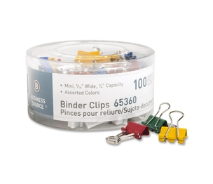 """Business Source 65360 Binder Clips, Mini, 9/16""""W, 1/4"""" Capacity, 100/PK, Assorted by Business Source"""