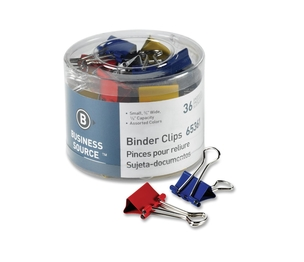 """Business Source 65361 Binder Clips, Small 3/4""""W, 3/8"""" Capacity, 36/PK, Assorted by Business Source"""