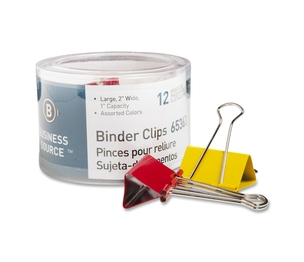 """Business Source 65363 Binder Clips, Large 2""""W, 1"""" Capacity, 12/PK, Assorted by Business Source"""