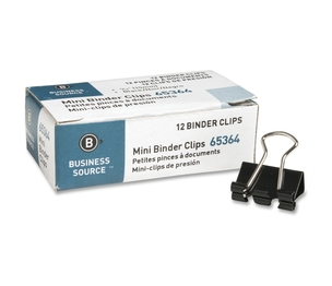 """Business Source 65364 Binder Clip, Mini, 9/16"""", Steel, 1/4"""" Capacity, 1DZ, Black by Business Source"""