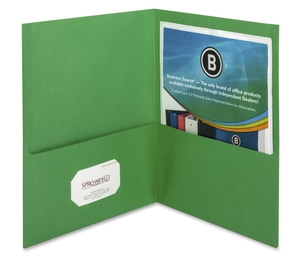 "Business Source 78493 2-Pocket Folders, 125 Sht Cap, Letter, 12""x9"", 25/BX, GREEN by Business Source"