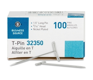 "Business Source 32350 T-Pins, 9/16"" Head Width, 1-1/2"" L, 100/BX, Silver by Business Source"
