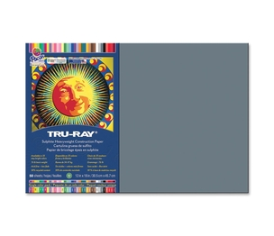 "PACON CORPORATION 103060 Construction Paper, 76lb., 12""x18"", 50/PK, Slate by Tru-Ray"