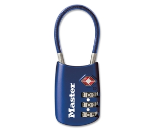 "Cable Lock, Combination, 1-1/8"", Blue by Master Lock"