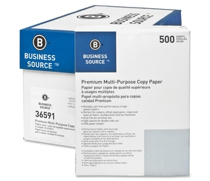 "Business Source 36591CT Multipurpose Paper,92 Bright,20lb.,8-1/2""x11"",5000/CT,White by Business Source"