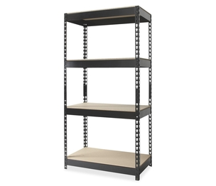 "Hirsh Industries 17125 Four-Shelf Unit, Steel, 3,800 LB cap., 30""x16""x60"", Black by Hirsh"