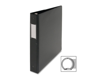 "Business Source 28559 Round Ring Binder,w/Label Holder,1"" Cap.,11""x8-1/2"",BK by Business Source"