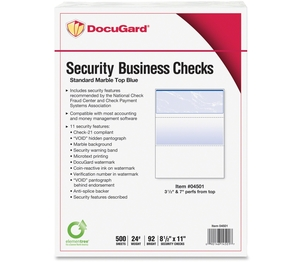Paris Business Products 04501 Security Business Checks, 5RM/CT, Marble Top/Blue by DocuGard