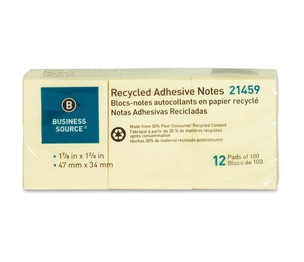 """Business Source 21459 Recycled Adhesive Note Pads, 1-7/8"""" x 1-3/8"""", 12/PK, Yellow by Business Source"""