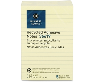 """Business Source 36619 Recycled Adhesive Note Pads, Lined, 4""""x6"""", 5/PK, Yellow by Business Source"""