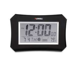 """Lorell Furniture 60998 Wall/Alarm Clock, LCD, 10-1/4W""""x7""""Hx1-1/2""""D Lunar, Slvr/Blk by Lorell"""