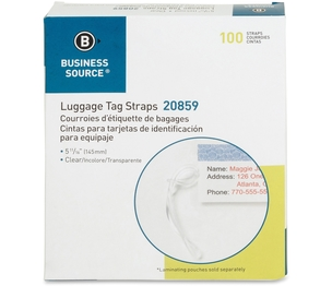 """Business Source 20859 Plastic Luggage Straps, 5"""", 100/BX, Clear by Business Source"""