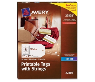 "Avery 22802 Printable Tabs, w/Strings,Rectangle, 2""x3-1/2"", 96Tabs/PK,WE by Avery"