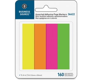 """Business Source 36622 Page Markers, 5/8""""x1-7/8"""", 160 Strips/PK, Assorted Neon by Business Source"""