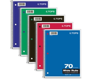 "Wirebound Notebooks,Wide Rld,92GE,10-1/2""x8"",70 Shts,Ast by TOPS"