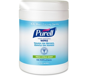 Gojo Industries, Inc 911306CT PURELL Sanitizing Wipes, 6 x 6.75, White, 270 Wipes per Canister by Purell