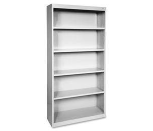 "Lorell Furniture 41289 Steel Bookcase, 5-Shelf, 34-1/2""x13""x72"", Light Gray by Lorell"