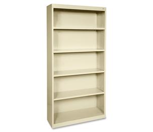 "Lorell Furniture 41290 Steel Bookcase, 5-Shelf, 34-1/2""x13""x72"", Putty by Lorell"