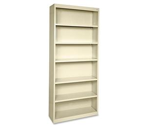 "Lorell Furniture 41293 Steel Bookcase, 6-Shelf, 34-1/2""x13""x82"", Putty by Lorell"