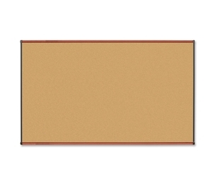 Lorell Furniture 60640 Natural Cork Board, 6'x4', Cherry by Lorell