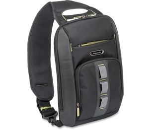 """SOLO STM751-4 """"Storm"""" Universal Tablet Sling in black polyester with padded pocket that holds all tablets/eReaders up to 10.2"""", Front zippered accessory pocket, Front zip down organizer, Adjustable sling strap. by Solo"""
