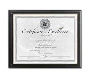 """Burnes Home Accents N2702N2T Document Frame, Solid Wood, 8-1/2""""x11"""", Black/Gold by DAX"""