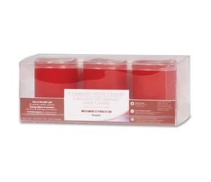 Energizer Holdings, Inc DVM3DL018 Flameless Wax Candle, 3/PK, Red by Energizer
