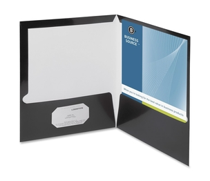 Business Source 44425 Two Pocket Folder, Ltr, 2-Pkts, 100 Shts, 25/BX, BK by Business Source