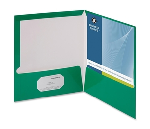 Business Source 44427 Two Pocket Folder, Ltr, 2-Pkts, 100 Shts, 25/BX, GN by Business Source