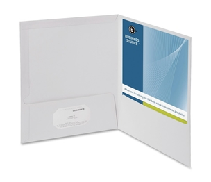 Business Source 44424 Two Pocket Folder, Ltr, 2-Pkts, 100 Shts, 25/BX, WE by Business Source