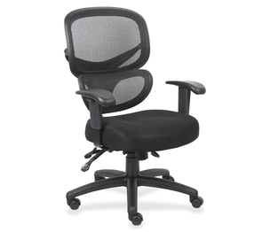 "Lorell Furniture 60622 Mesh-Back Executive Chair, Fabric Seat, 27""x27""x40-1/2"",BK by Lorell"
