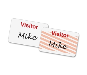 """Self-Expiring Visitor Badge, 3""""x2"""", 100/BX, White/Red by Baumgartens"""