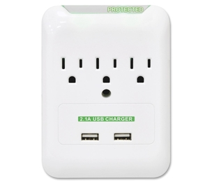 Compucessory 51547 Surge Protector, Wall Tap, 3 Outlets,2 USB Ports, White by Compucessory