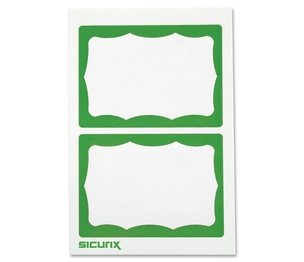 BAUMGARTENS 67646 Visitor Badge, Green Border, 100/BX, White/Green by Baumgartens